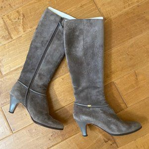 Salvatore Ferragamo grey swede boots